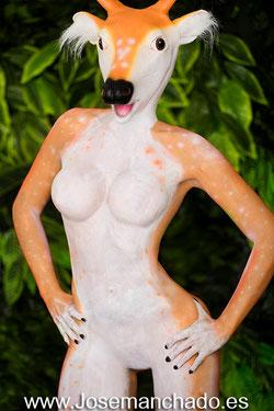 bodypaint animal, bodypaint alce, bodypaint airbrush, bodypaint madrid, artista bodypaint, empresa bodypaint