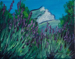 0040-la Sainte Victoire du lavande, 24/19cm oil on canvas--SOLD