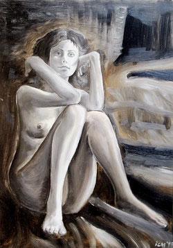 jens könig, titel: ein blick? - einblick!, öl auf druckplatte, 1998, 50x70 cm