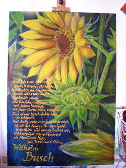 Sonnenblumen und Busch, Eitempera auf Leinwand, 70x100 cm