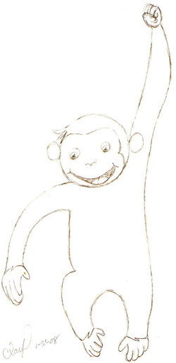 """Curious George"" – Pinwheel Cartoon – by Peggy Sue Clay 1-31-08"