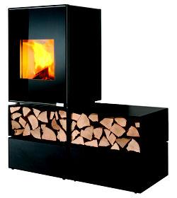 Eckiger Kaminofen mit Abbrandautomatik Hot Box 200o mit Holzfächern und Schubladen