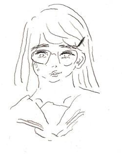 二分で描く女生徒