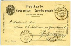 Luthernbad, Handskizze H. Felber, Postkarte mit Stempeln 2. Juli 1902, Postweg Luthern über Reiden nach Pfaffnau  (LB 4b)