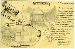 Luthern Bad, Handskizze  H. Felber 2. Juli 1902, gesehen aus dem damaligen Waldbruderkloster  (LB 4a)