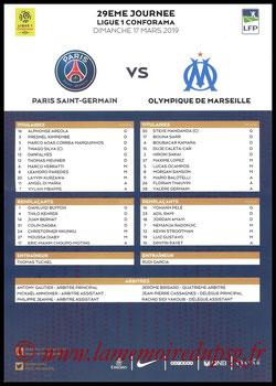 Feuille de match  PSG-Marseille  2018-19