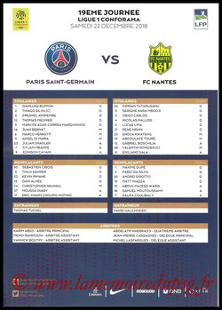 Feuille de match  PSG-Nantes  2018-19