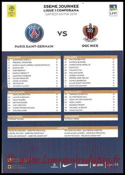 Feuille de match  PSG-Nice  2018-19