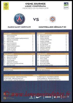Feuille de match  PSG-Montpellier  2018-19