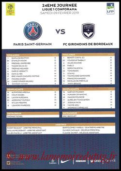 Feuille de match  PSG-Bordeaux  2018-19