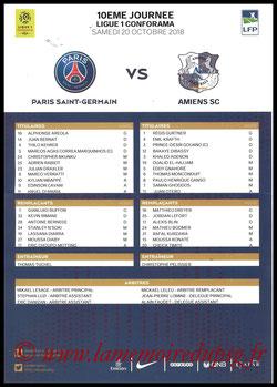 Feuille de match  PSG-Amiens  2018-19