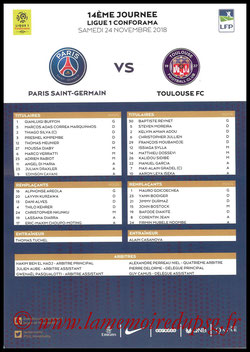 Feuille de match  PSG-Toulouse  2018-19