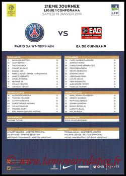 Feuille de match  PSG-Guingamp  2018-19