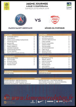 Feuille de match  PSG-Nîmes  2018-19