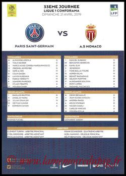 Feuille de match  PSG-Monaco  2018-19