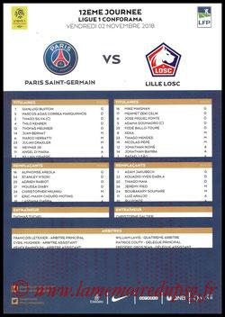 Feuille de match  PSG-Lille  2018-19