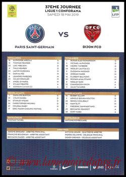 Feuille de match  PSG-Dijon  2018-19