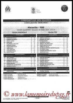 Feuille de match  Marseille-PSG  2018-19