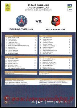 Feuille de match  PSG-Rennes  2018-19