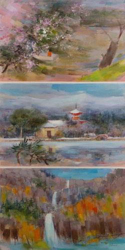 """"""" 3 JAPONS """" (huile sur toile) Triptyque 100 x 50 cm JF.Millan (collection privée)"""