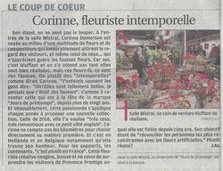 Jours de Printemps élu Coup de Coeur par La Provence sur le Salon Provence Prestige