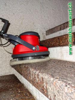 Markhauswart mit Spezialreinigung auf rauhen Oberflächen wie Waschbetonplatten