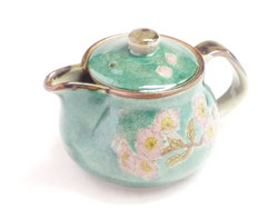 Kutani Hyakkaen Teapot kyusu Someiyoshino Cherry Blossom Green feat Decorated Base