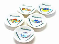 九谷焼 3寸花弁型 皿揃え 魚紋絵変り