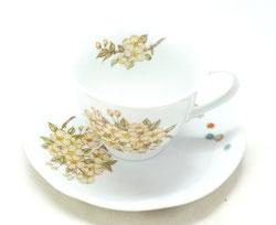 九谷焼通販 おしゃれ ギフト カップ&ソーサー コーヒカップ コーヒー碗  しだれ桜 裏絵