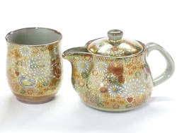 Kutaniyaki Hyakkaen kyusu Teapot Small&1 Tea Cup Set 250ml kinhanazeme Princess Feeling feat Decorated Base