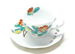 九谷焼 カップ&ソーサー 椿に鳥 裏絵
