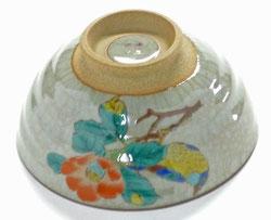 九谷焼通販 おしゃれな飯碗 茶碗 ご飯茶碗 大 椿に鳥 中絵