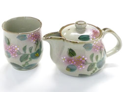 Kutani Hyakkaen kutani small kyusu Teapot & one cup set 250cc hydrangea feat decorated base