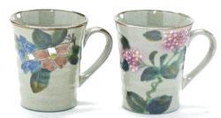 九谷焼 ペアマグカップ コンビ山茶花&がく紫陽花ピンク+ピンク 裏絵