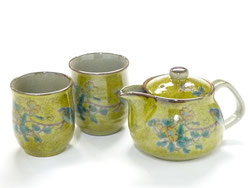 Kutaniyaki Hyakkaen kyusu Teapot Large&2tea Cup Set 350ml Yellow kinshibai ni Tori feat Decorated Base