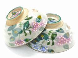 九谷焼 ペア飯碗 がく紫陽花ピンク+ピンク&ピンク+ブルー 裏絵