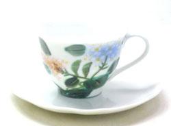 九谷焼通販 おしゃれ ギフト カップ&ソーサー コーヒカップ コーヒー碗  がく紫陽花 裏絵