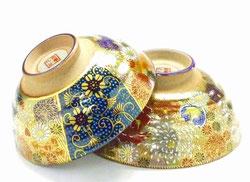 九谷焼 ペア飯碗 青粒+金花詰(傑作)&金花詰