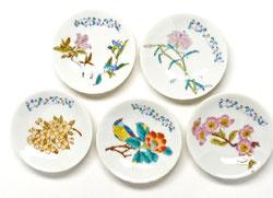 九谷焼通販 おしゃれな小皿 皿揃え 草花絵変り 3寸花弁型 裏絵