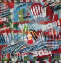 peinture sardines sur toile
