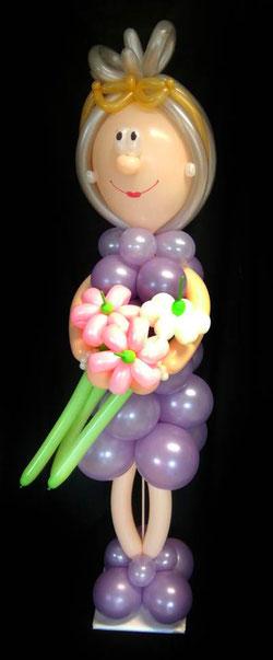 Luftballon Ballon Dekoration Geschenk Party Hingucker Eyecatcher excluxive besondere Frau Oma lebensgroß Blume Männchen Geburtstag Großmutter Brille