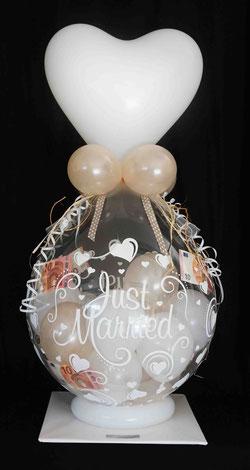 Ballon Just Married Luftballon Geschenk Überraschung Hochzeit Herzlichen Glückwunsch Geldballon Geld Geldgeschenk Herz Verpackungsballon Verpackung Blickfang Hochzeitsfest Trauung Party Standesamt Firma Arbeitskollegen Freunde