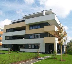 modernes Gebäude, Haus mit Rasen und Bäumen