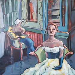 Galambos Rita: ECLIPSE- Homage to Toulouse Lautrec, Künstlerin, Acrylgemälde, Acrylmalerei, bildende Künstlerin, Malerin, Designerin, Illustratorin, Grafikdesignerin, hungarian Painter, contemporary artist, modern painting, Feldkirch, Vorarlberg , Austria