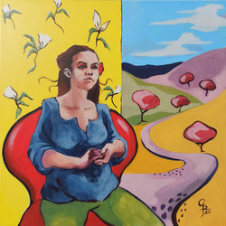 Galambos Rita: Egy délután Gauguin-nel, Künstlerin, Acrylgemälde, Acrylmalerei, bildende Künstlerin, Malerin, Designerin, Illustratorin, Grafikdesignerin, hungarian Painter, contemporary artist, modern painting, Feldkirch, Vorarlberg , Austria