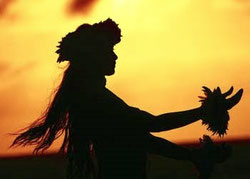 A creative and harmonious photo of a Hawaiian lady hula dancing on the beach at sun set, hearing the sound of the waves.