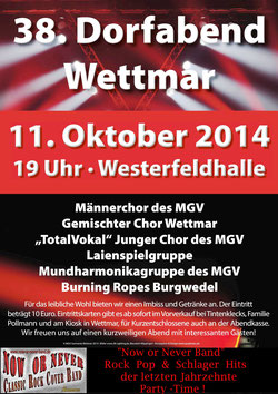 Now or Never Band Wettmar Dorffest 2014