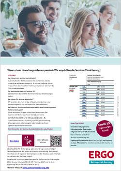 Angebots-Flyer als PDF für die Seminar-Versicherung der ERGO Reiseversicherung mit Covid-19-Zusatzschutz