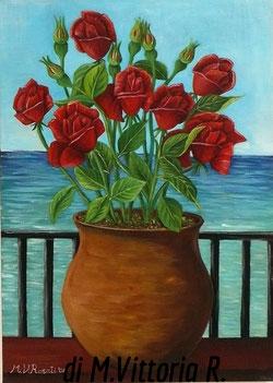 vaso con rose, olio su tela cm 35x50 anno 2008