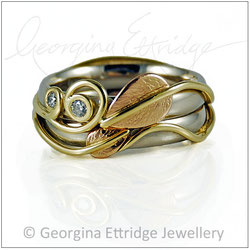 Leaf & Two Tendrils & Leaf Tapered Tendril Rings